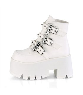 Gothic Ankle Boots ASHES-55 Weiss matt