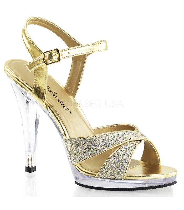 Plateau High Heels FLAIR-419G- Gold/Klar