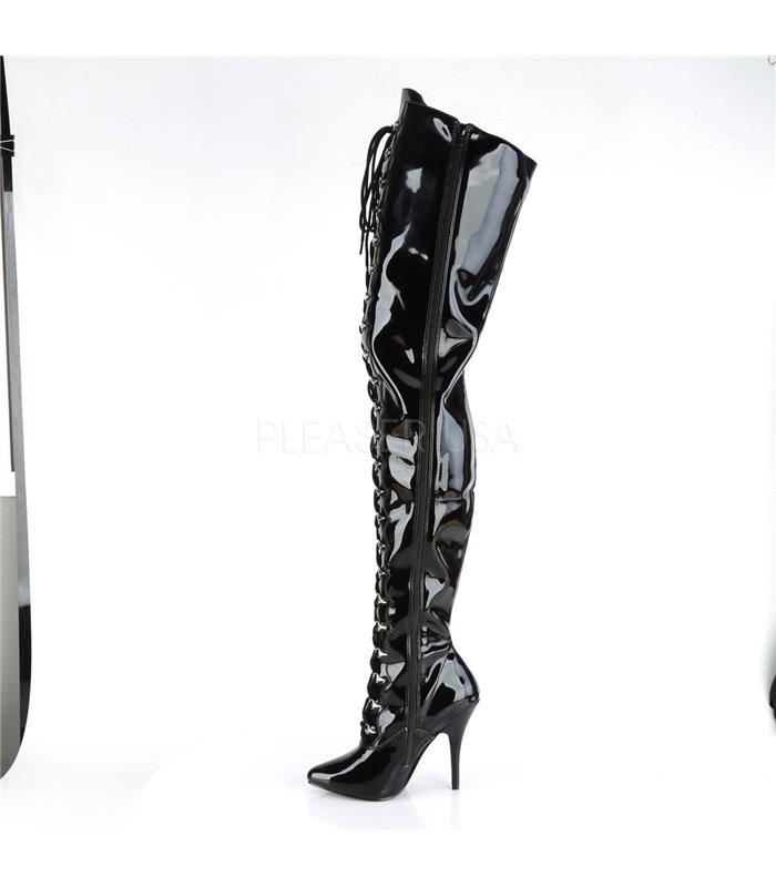 Crotch Boots SEDUCE-4026 - Lack  Schwarz