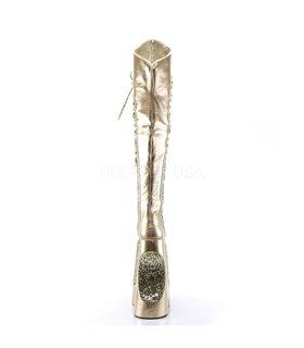Pleaser Plateau Overknee Stiefel FABULOUS-3035 Gold Crinkle Pat-Glitter