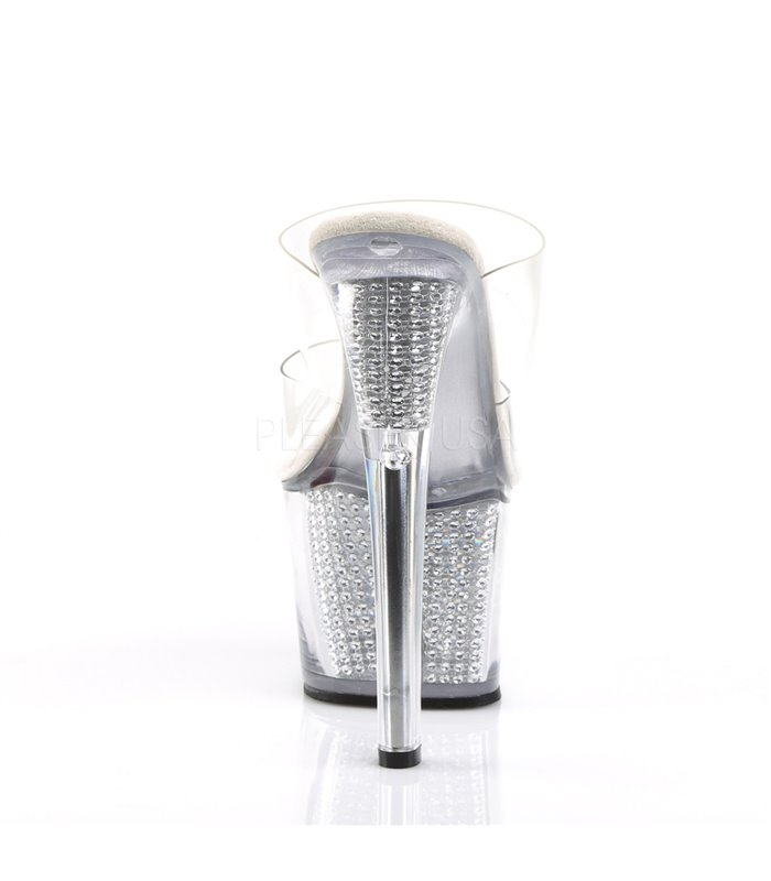 Plateau Pantolette SKY-302SRS - Weiß/Silber