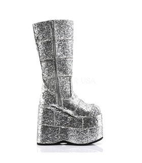 Plateau Stiefel STACK-301 - Glitter Silber