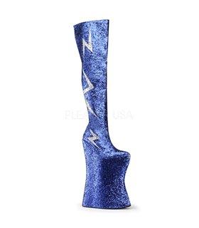 Pleaser Plateau Overknee Stiefel VIVACIOUS-3016 Royal Blue-Slv Glitter