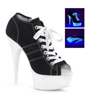 Canvas High Heel Sneakers DELIGHT-600SK-01 - Schwarz