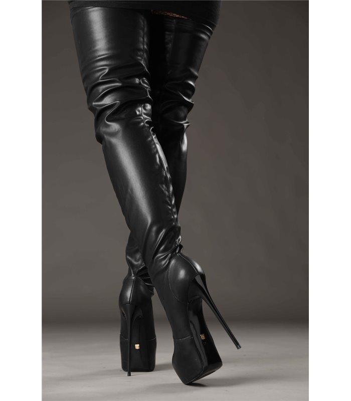Giaro Galana 1004 Stiefel luxus Plateau Overkneestiefel in in schwarz
