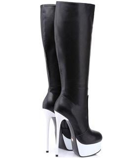 Giaro Galana 1003 Damen Herren Unisex Plateau Stiefel schwarz weiß