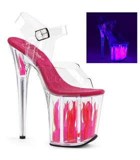 Extrem Plateau High Heels FLAMINGO-808FLM - Neon Pink Flamme
