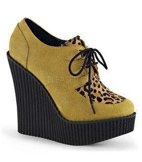 Demonia Halbschuhe CREEPER-304 Mustard Vegan Suede-Leopard Printed Ponly Hair