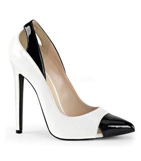 Stiletto Pumps SEXY-22 - Weiß/Schwarz