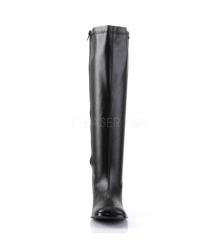 Retro Stiefel GOGO-300WC (Weitschaftstiefel) - PU Schwarz