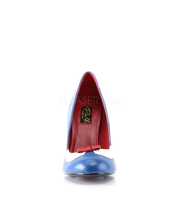 Pin Up Couture Pumps SMITTEN-05 Navy Blau-Weiss Kunstleder