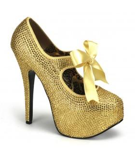 Strass High Heels TEEZE-04R - Gold