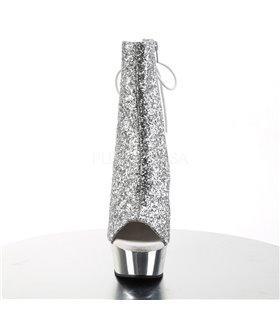 Glitter Plateau Stiefelette DELIGHT-1018G - Silber