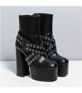 Ellie Tailor Signal schwarz matt Ankle Boots Damen Herren Übergröße