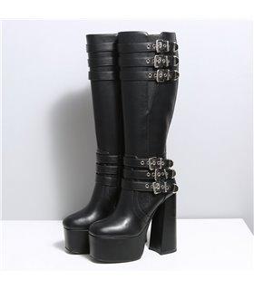 Ellie Tailor Tackle schwarz matt Knee Boots Damen Herren Übergröße