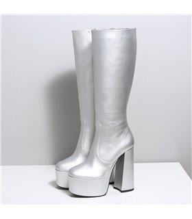 Ellie Tailor Emmy cow silber matt Knee Boots Damen Herren Übergröße