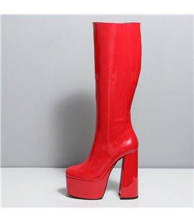 Ellie Tailor Emmy rot shiny Knee Boots Damen Herren Übergröße