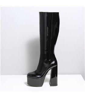 Ellie Tailor Emmy schwarz shiny Knee Boots Damen Herren Übergröße