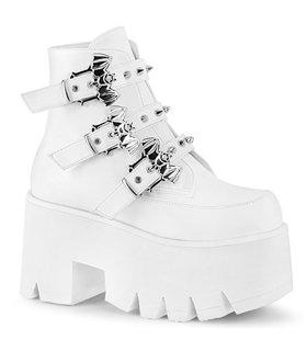 Gothic Ankle Boots ASHES-55 - Lederimitat Weiß