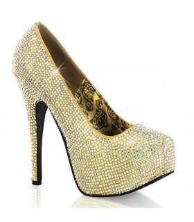 Strass High Heels TEEZE-06R - Gold schillernd
