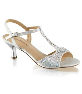 Kitten Heel Sandalette AUDREY-05 - Silber