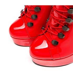 Sandaletten mit Korsettschnürung Pleaser DELIGHT-660FH Schwarz/Rot